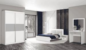 חדר שינה קומפלט הכולל ארון הזזה עם 9 חללי אחסון, מיטה יהודית + שידת לילה עם 2 מגירות, ושולחן התארגנות הכולל מגירה + מראה – דגם שלום