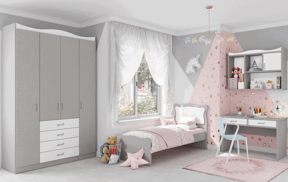 חדר ילדים הכולל ארון 4 דלתות, מיטת יחיד, וספרייה עם שולחן עבודה וכוורת לתלייה – דגם שניאל