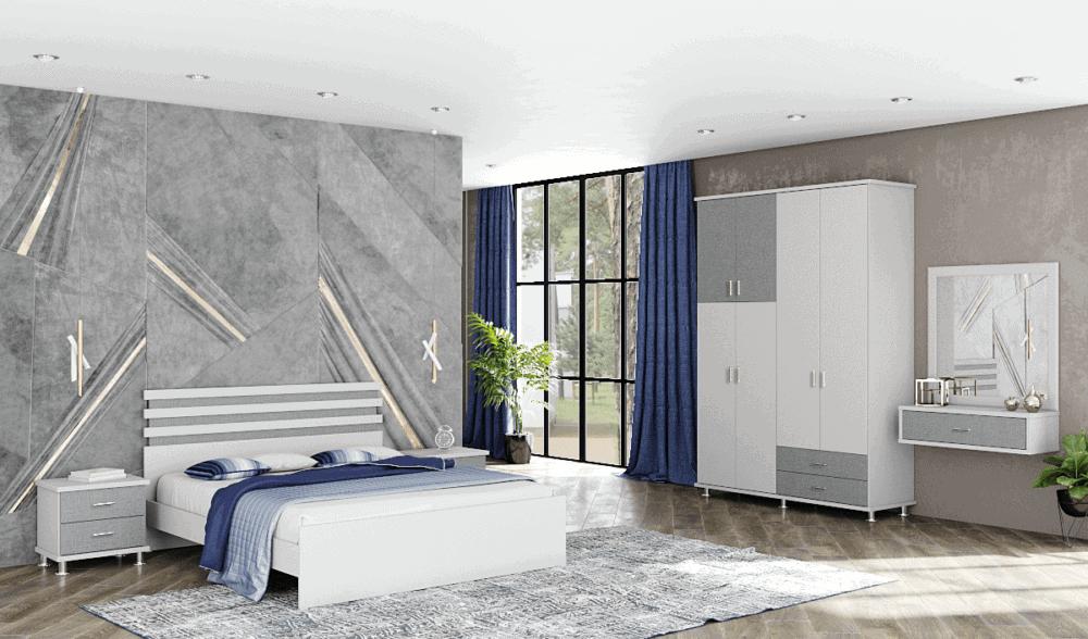 חדר שינה קומפלט הכולל ארון 4 דלתות, מיטה יהודית, 2 שידות לילה עם 2 מגירות אחסון, וכוננית לתלייה עם מגירת אחסון + מראה – דגם שמעון