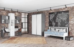 חדר ילדים שלם הכולל ארון הזזה עם 9 חללי אחסון, מיטת יחיד, וספרייה זוגית עם משטח עבודה ו- 2 כוורות לתלייה – דגם טל