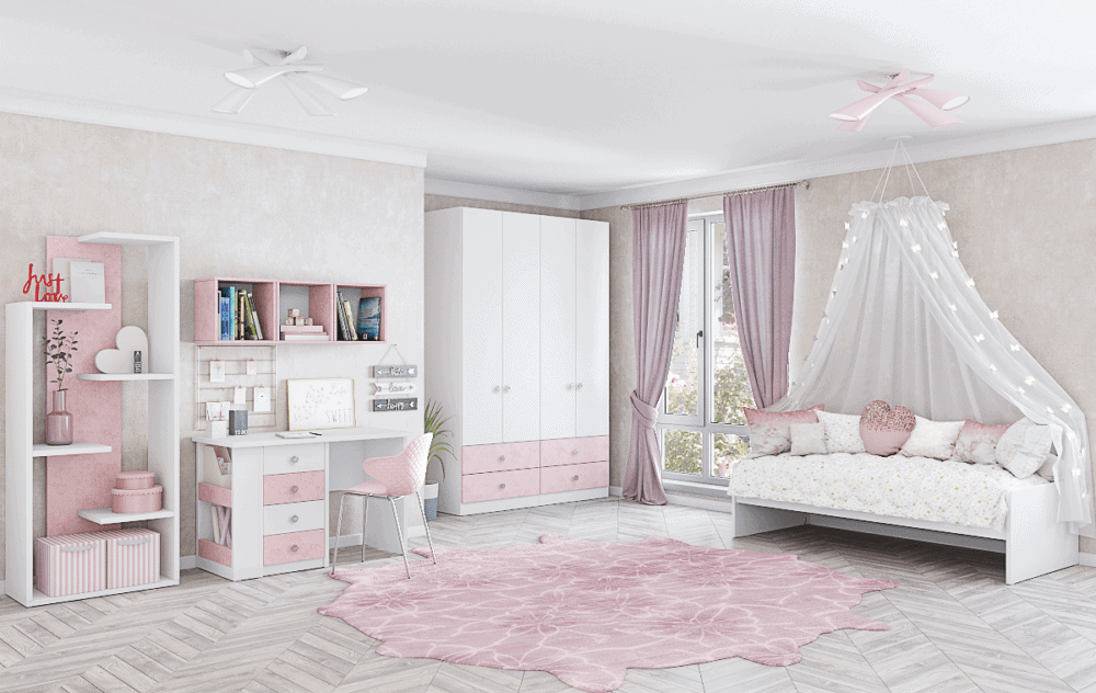 חדר ילדים שלם הכולל ארון 4 דלתות, מיטת יחיד, וספרייה עם שולחן עבודה + כוורת לתלייה ועמודון תצוגה - דגם ירדן
