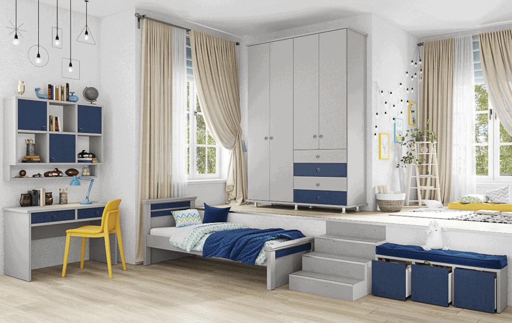 חדר ילדים שלם הכולל ארון 4 דלתות, מיטת יחיד, וספרייה עם שולחן עבודה + כוורת אחסון ותצוגה לתלייה – דגם יהונתן