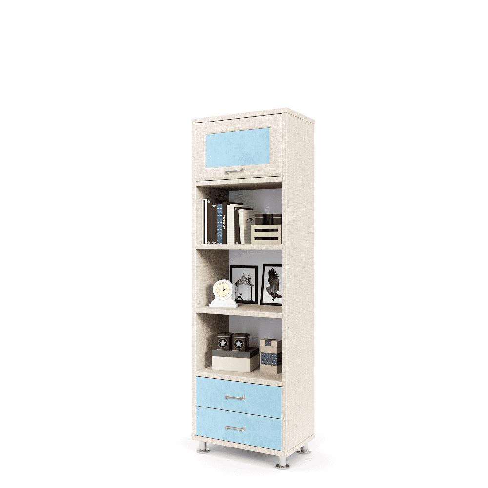עמודון אחסון ותצוגה הכולל 2 מגירות, 3 קוביות תצוגה, ותא אחסון סגור – דגם עמודון 4