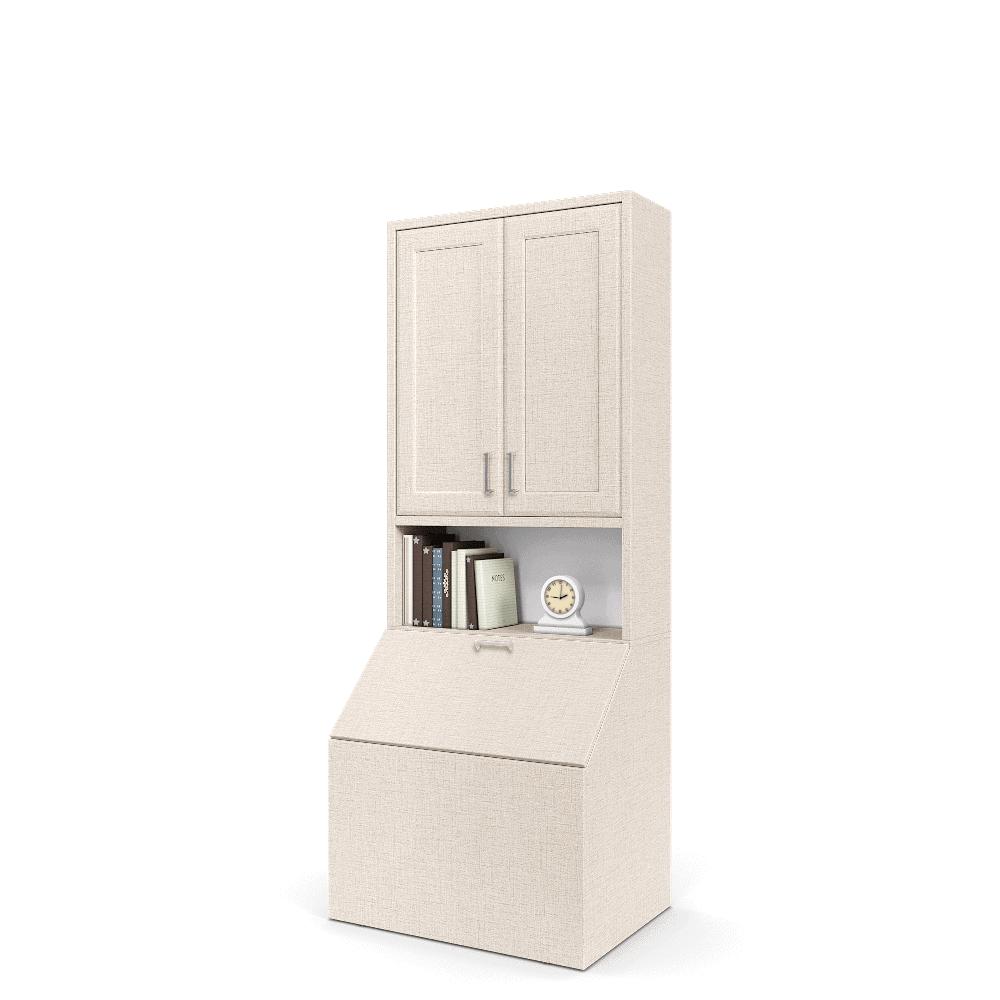 ארונית אחסון הכוללת מיני-ארון 2 דלתות, מדף תצוגה, ותא אחסון נסגר – דגם ליאם