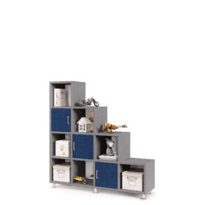 כוורת אחסון ותצוגה מדורגת הכוללת 7 קוביות תצוגה פתוחות + 3 תאי אחסון סגורים – דגם שגיב