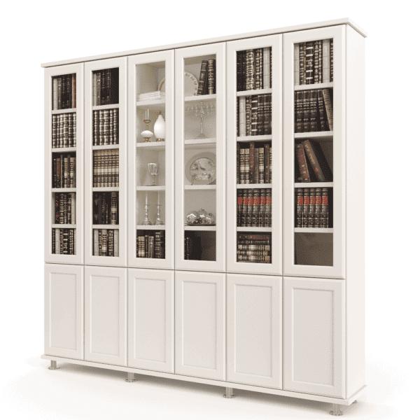 ספריית קודש עם 6 דלתות זכוכית + תא תצוגה מרכזי, 6 דלתות אחסון תחתונות ו- 3 מגירות – דגם MIRON 6
