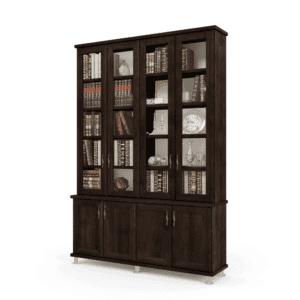 ספריית קודש עם 5 דלתות זכוכית + תא תצוגה מרכזי, ו- 6 דלתות אחסון תחתונות – דגם MIRON 4