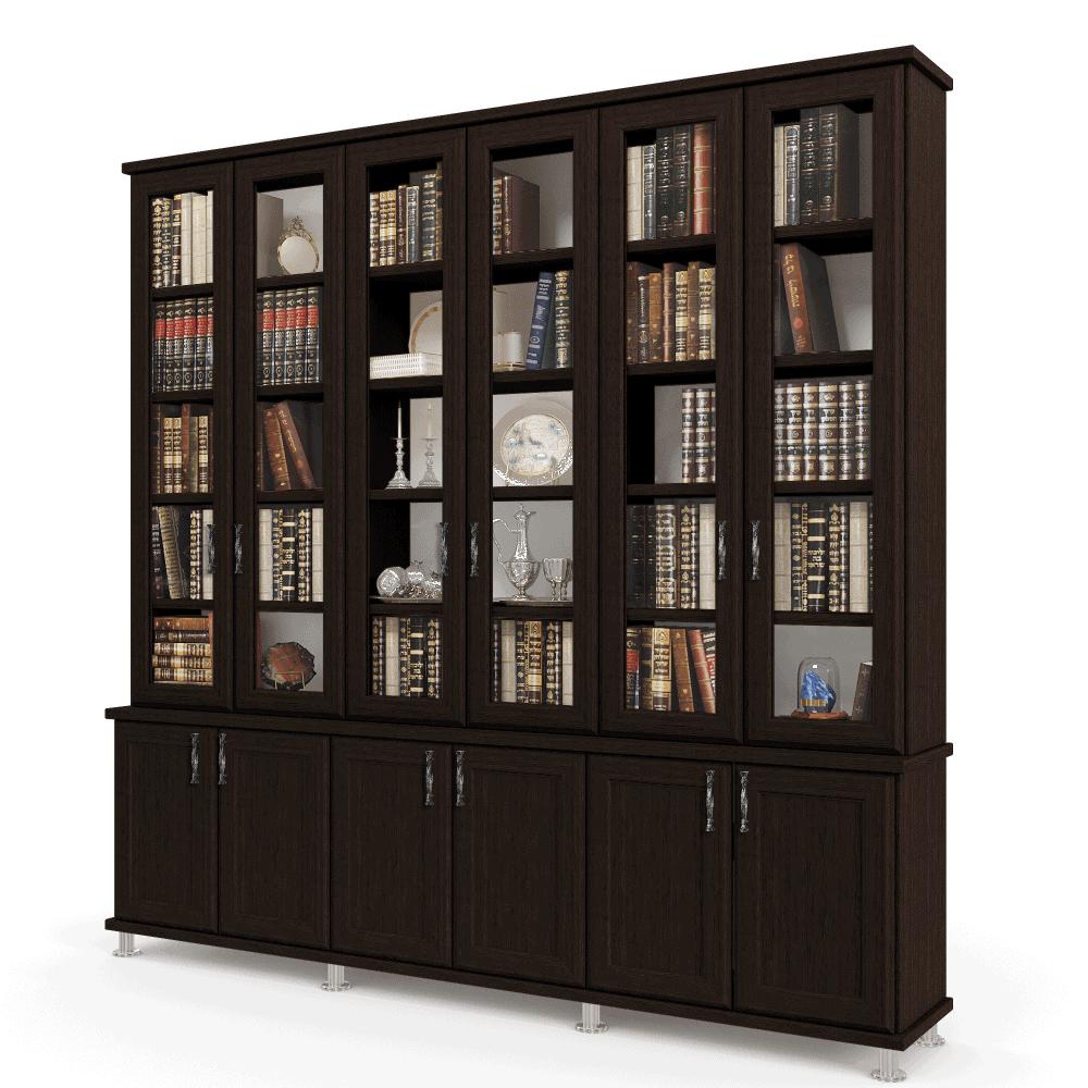 ספריית קודש עם 5 דלתות זכוכית + תא תצוגה מרכזי, ו- 6 דלתות אחסון תחתונות – דגם  MIRON 6