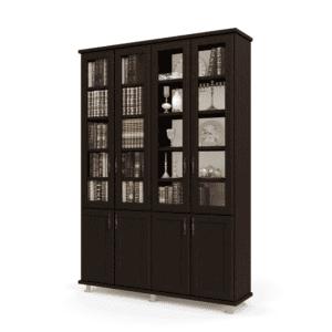 ספריית קודש הכוללת מדפים עם חיפוי של 4 דלתות זכוכית עליונות + 4 דלתות תחתונות – דגם לוטוס 4