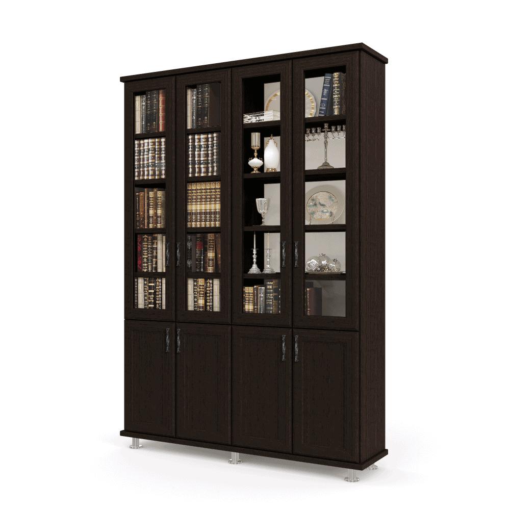 ספריית קודש עם 4 דלתות זכוכית + תא תצוגה מרכזי, 4 דלתות אחסון תחתונות ו- 3 מגירות  – דגם LOTOS 4