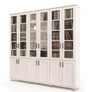 ספריית קודש הכוללת 6 דלתות זכוכית המחפות על מדפי תצוגה + 6 דלתות עץ תחתונות – דגם לוטוס 6