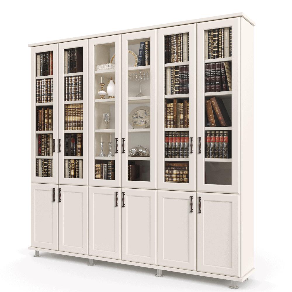 ספריית קודש עם 6 דלתות זכוכית + תא תצוגה מרכזי, 6 דלתות אחסון תחתונות ו- 3 מגירות – דגם LOTOS 6