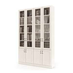 ספריית קודש הכוללת מדפים המחופים ב- 4 דלתות זכוכית עליונות + 4 דלתות אחסון תחתונות – דגם רם גלאס 4