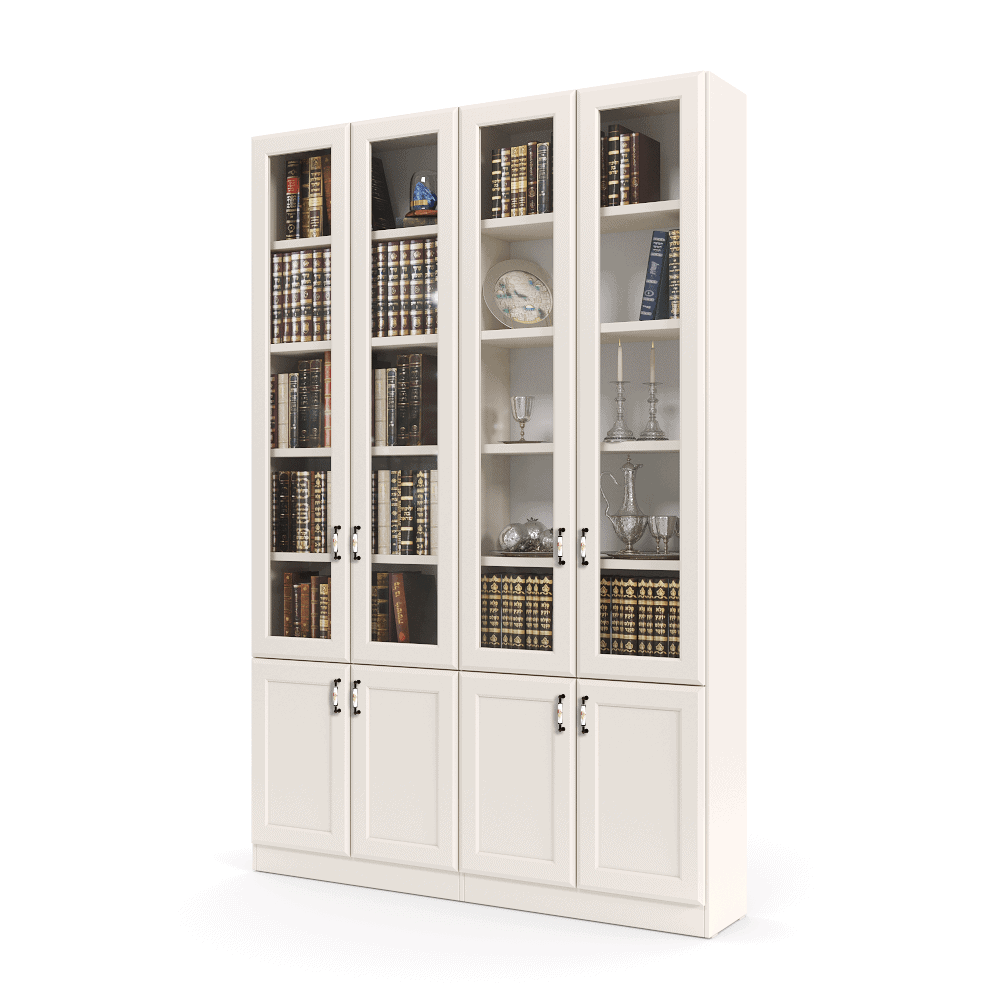 ספריית קודש עם 5 דלתות זכוכית + תא תצוגה מרכזי, ו- 6 דלתות אחסון תחתונות – דגם RAM GLASS 4