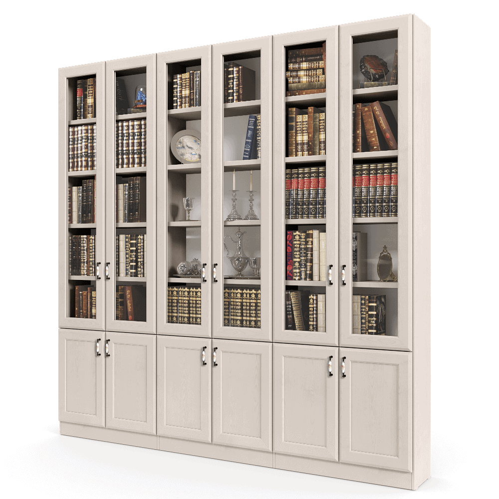 ספריית קודש עם 5 דלתות זכוכית + תא תצוגה מרכזי, ו- 6 דלתות אחסון תחתונות – דגם RAM GLASS 6