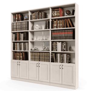 ספריית קודש הכוללת 15 מדפים פתוחים + 6 דלתות אחסון תחתונות – דגם רם בלי זכוכית 6