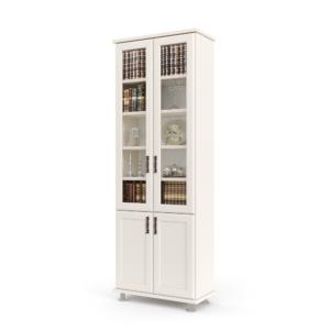 ספריית קודש הכוללת 5 מדפים המחופים ב-2 דלתות זכוכית, בתוספת 2 דלתות עץ תחתונות לאחסון – דגם לוטוס 2
