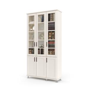 ספריית קודש הכוללת 5 מדפים המחופים ב-3 דלתות זכוכית, בתוספת 3 דלתות עץ תחתונות לאחסון – דגם לוטוס 3