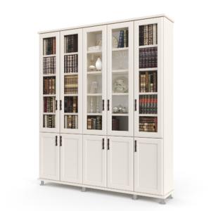 ספריית קודש הכוללת 5 דלתות זכוכית המחפות על מדפי אחסון ותצוגה, בתוספת 5 דלתות עץ תחתונות לאחסון – דגם לוטוס 5