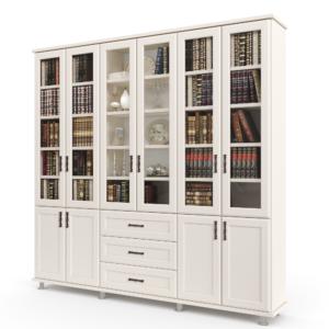 ספריית קודש הכוללת 6 דלתות זכוכית המחפות על מדפי אחסון ותצוגה, 4 דלתות עץ תחתונות ו- 3 מגירות מרכזיות – דגם לוטוס 6-M