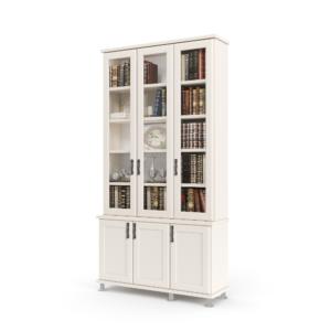 ספריית קודש עם 5 מדפים המחופים ב- 3 דלתות זכוכית, ומיני-ארון 3 דלתות לאחסון – דגם מירון 3