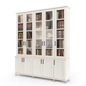 ספריית קודש הכוללת 5 דלתות זכוכית המחפות על מדפי אחסון ותצוגה, ו – 5 דלתות עץ תחתונות לאחסון – דגם מירון 5
