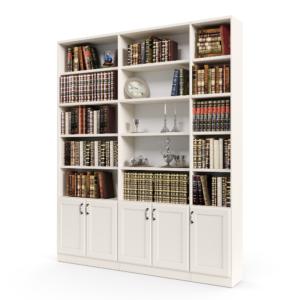 ספריית קודש הכוללת 15 חללי אחסון פתוחים בתוספת 5 דלתות עץ תחתונות – דגם רם בלי זכוכית 5
