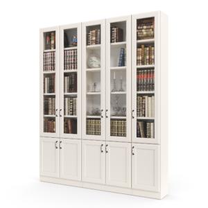 ספריית קודש הכוללת 5 דלתות זכוכית עליונות + 5 דלתות אחסון תחתונות – דגם רם גלאס 5