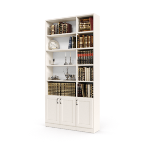 ספריית קודש הכוללת 10 חללי אחסון פתוחים בתוספת 3 דלתות עץ תחתונות – דגם רם בלי זכוכית 3